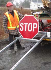 THI Fibreglass Traffic Sign being installed